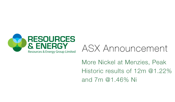 Resources & Energy (ASX:REZ) - More Nickel at Menzies, Peak Historic results of 12m @1.22% and 7m @1.46% Ni
